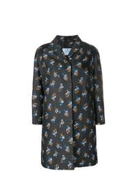 Manteau à fleurs noir Prada Vintage