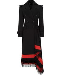 Manteau à franges noir Alexander McQueen