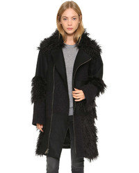 Manteau à franges noir DKNY