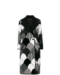 Manteau à patchwork noir et blanc Dolce & Gabbana