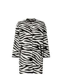 Manteau à rayures horizontales blanc et noir