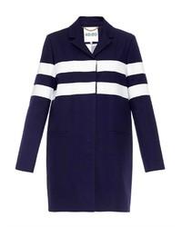 Manteau à rayures horizontales bleu marine et blanc