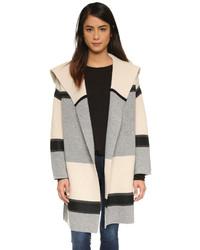 Manteau à rayures horizontales gris Vince