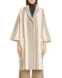 Manteau à rayures verticales beige