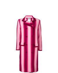 Manteau à rayures verticales fuchsia Moschino