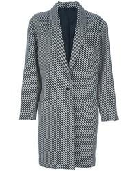 Manteau à rayures verticales noir et blanc Versace