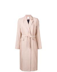 Manteau à rayures verticales rose