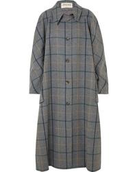 Manteau cape à carreaux gris foncé A.W.A.K.E.