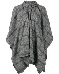 Manteau cape à carreaux gris