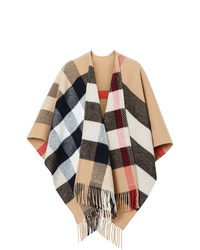 Manteau cape à carreaux marron clair Burberry