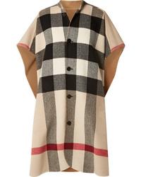 Manteau cape à carreaux marron Burberry