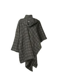 Manteau cape à carreaux marron Issey Miyake Vintage