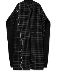 Manteau cape à carreaux noir Akris
