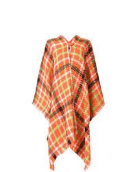 Manteau cape à carreaux orange Boutique Moschino