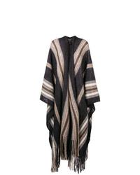 Manteau cape à franges gris foncé Isabel Marant