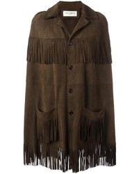 Manteau cape à franges marron foncé Saint Laurent