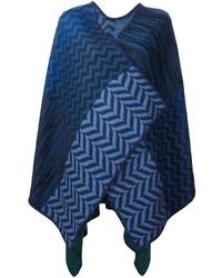 Manteau cape à motif zigzag bleu marine Missoni