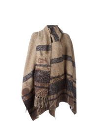 Manteau cape à rayures horizontales marron clair Etro