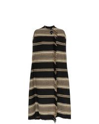 Manteau cape à rayures horizontales noir Isabel Marant
