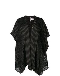 Manteau cape à rayures verticales noir Antonio Marras