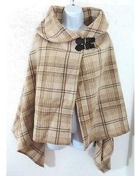 Manteau cape écossais beige