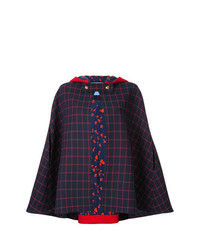 Manteau cape écossais rouge et bleu marine
