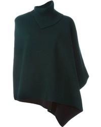 Manteau cape en tricot vert foncé Marni