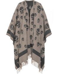 Manteau cape imprimé gris Alexander McQueen