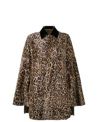 Manteau cape imprimé léopard marron
