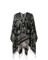 Manteau cape imprimé noir Etro
