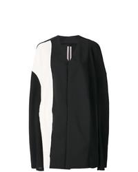 Manteau cape noir et blanc Rick Owens