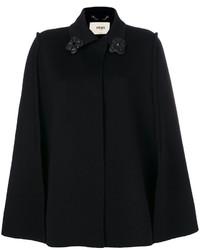 Manteau cape orné noir Fendi