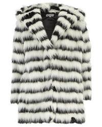 Manteau de fourrure à rayures horizontales blanc et noir