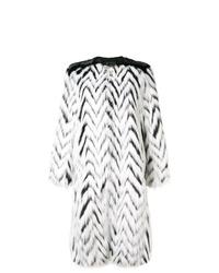 Manteau de fourrure à rayures horizontales blanc et noir Givenchy