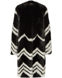 Manteau de fourrure à rayures horizontales noir et blanc Givenchy