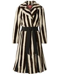 Manteau de fourrure à rayures verticales multicolore