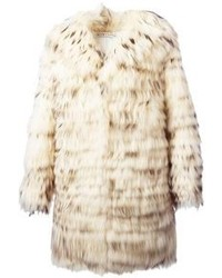 Manteau de fourrure beige
