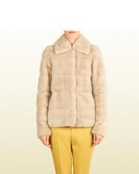 Manteau de fourrure beige Gucci