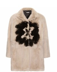 Manteau de fourrure beige Miu Miu