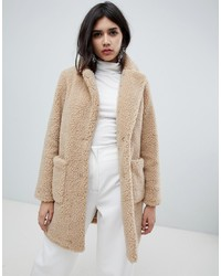 Manteau de fourrure beige New Look