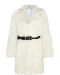 Manteau de fourrure blanc Topshop