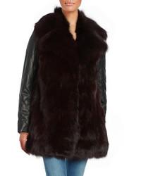Manteau de fourrure en cuir noir