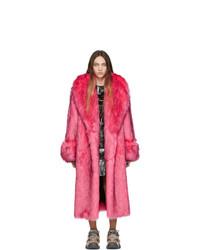 Manteau de fourrure fuchsia Gucci