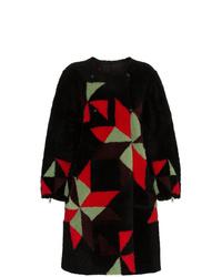 Manteau de fourrure géométrique noir Isabel Marant