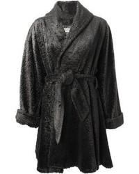 Manteau de fourrure gris foncé Lanvin