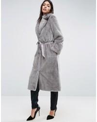 Manteau de fourrure gris Asos