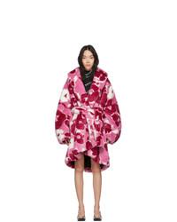 Manteau de fourrure imprimé fuchsia Balenciaga