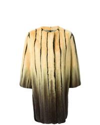 Manteau de fourrure imprimé jaune Fendi