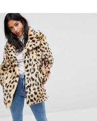 Manteau de fourrure imprimé léopard beige Asos