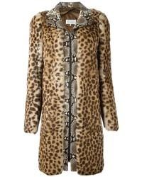 Manteau de fourrure imprimé léopard brun clair Maison Margiela